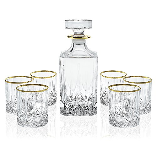 Elegant Manhattan Style Crystal Liquor Whiskey and Wine Decanter Set. Irish Cut 7 Piece Set 1 Decanter. 6 Old Fashioned 6 Oz DOF Glasses with 24k Gold Trim. (Trim 9 Piece Set)