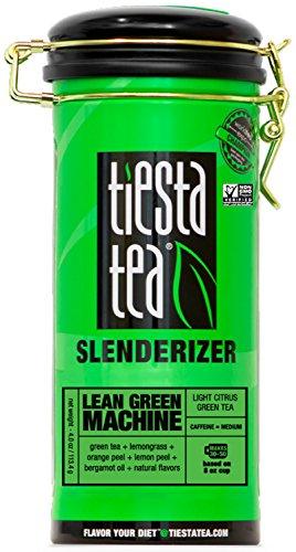 Tiesta Tea Lean Green Machine, Light Citrus Green Tea, 50 Servings, 4 Ounce Tin, Medium Caffeine, Loose Leaf Green Tea Slenderizer Blend, Non-GMO