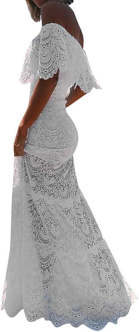 Overdose Vestido Blanco para Damas Cóctel Noche de Fiesta Hombro frío Manga de Volantes Boda Novia Vestido Elegante Puro Encaje Calado Tubo Top Maxi Vestido: Amazon.es: Ropa y accesorios