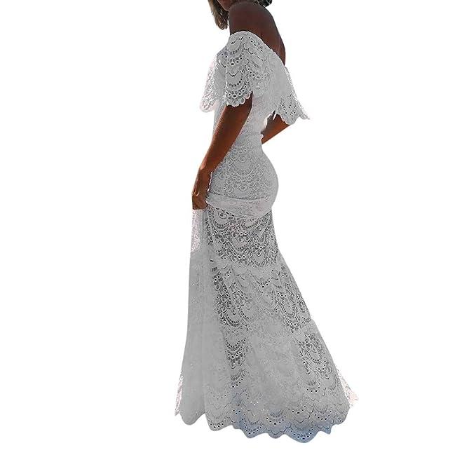 f372ab775 Overdose Vestido Blanco para Damas Cóctel Noche de Fiesta Hombro frío Manga  de Volantes Boda Novia Vestido Elegante Puro Encaje Calado Tubo Top Maxi ...