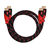 HDMI Cable,High Speed HDMI Cable KAYO Gold-Plated Supports [Ultra HD|4K Resolution|3D|Ethernet|Audio Return|2160p|1080p] -Braided Cord-Red,BLACK Sleeve [Latest Version] Bonus Cable Tie (10FT -2PK)