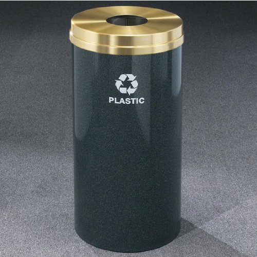 Glaro RecyclePro Satin Brass Cover Bottles & Cans Receptacle, 16 Gal, 15 inch Dia x 33 inch H, Plastic Message, Espresso Brown, Finish Shown Not Available