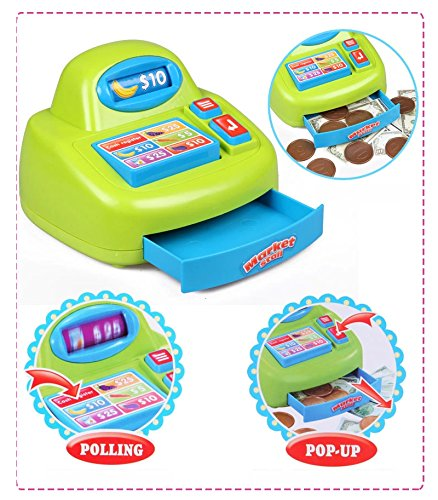 PowerTRC® Fun Super Market Pretend Play Toy Market Play Set with Toy Cash Register, Working Scanner, Shopping Cart, Pretend Food and Money by PowerTRC (Image #3)