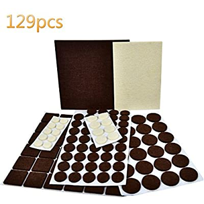 Felt Pads Furniture Feet Brown Self-Stick 106+Beige 23 various sizes-Best Hardwood Floor Protectors. Premium Two Colors Pack Furniture Pads 129 piece Protect Your Hardwood Flooring