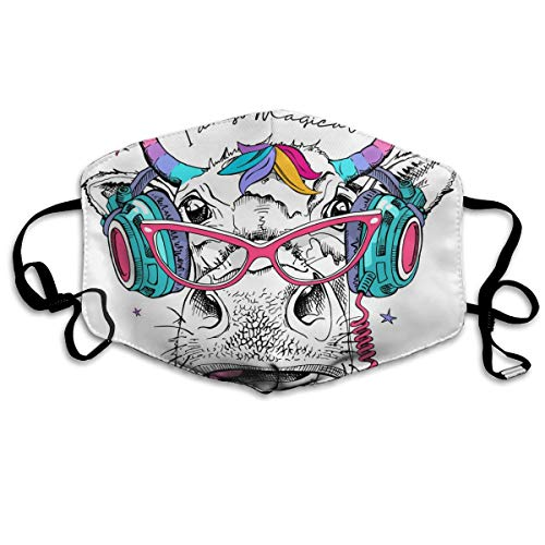 Dust Mask Cute Rainbow Cow DJ Fashion Anti-dust Reusable Cotton Comfy Breathable Safety Mouth Masks Half Face Mask for Women Man Running Cycling Outdoor