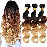 Ombre Brazilian Hair Body Wave Bundles 100% Human Hair Ombre Bundles, 3 Tone Ombre Weave Hair Bundles Ombre Blonde 3…