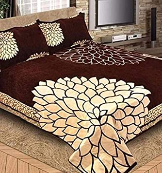 Premium Chenille Bed Cover with 2 Pillow Covers from Smiling Home | King Size | Coffee