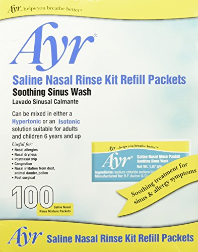 - Ayr Saline Nasal Rinse Kit Refill Packets, 100 Count