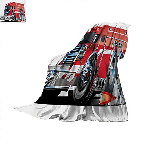 Cars Throw Blanket Big Fire Truck with Emergency Equipments Universal Safety Rescue Team Engine Cartoon Warm Microfiber All Season Blanket for Bed or Couch 50 x 30 inch Red Silver