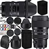 Sigma 18-35mm f/1.8 DC HSM Art & 50-100mm f/1.8 DC HSM Art Dual Lens Bundle for Canon. Includes Manufacturer Accessories + 2 3PC Filter Kits (UV-CPL-FLD) + 6PC Graduated Filter Set (Red, Yellow, Blue, Orange, Grey, Purple) + MORE