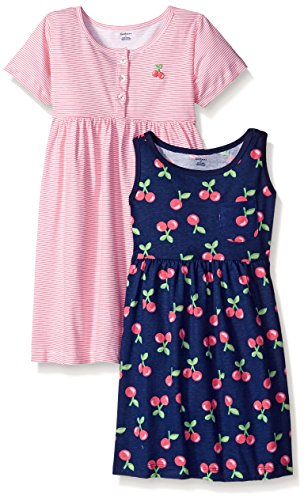 Gerber Little Girls' Toddler Two-Piece Dress Set, Cherries/Exclusive, 4T ()