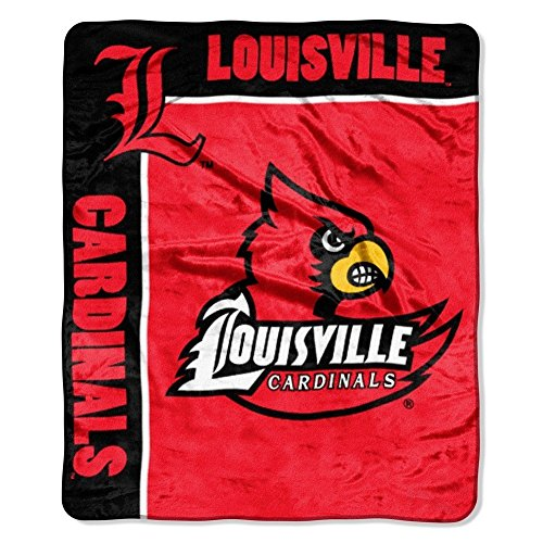 NCAA Louisville Cardinals School Spirit Royal Plush Raschel Throw Blanket, 50x60-Inch