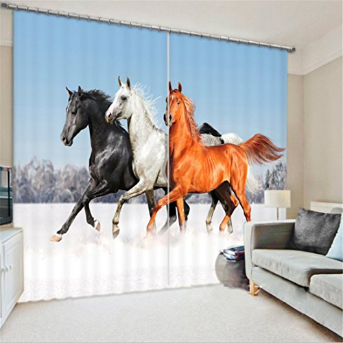 LB 2 Panels Room Darkening Thermal Insulated Blackout Window Curtains,Pentium Horse Home Decor 3D Window Drapes for Living Room Bedroom,60 Inch Width by 65 Inch Length (Kids Horse Bedroom)