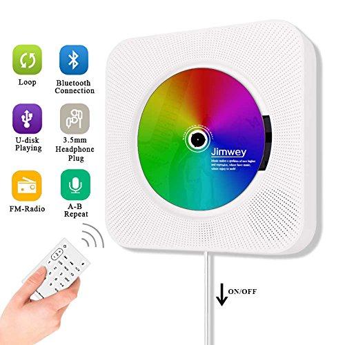 Portable CD Player, Jimwey Wall Mountable Bluetooth Built-in HiFi Speakers,...