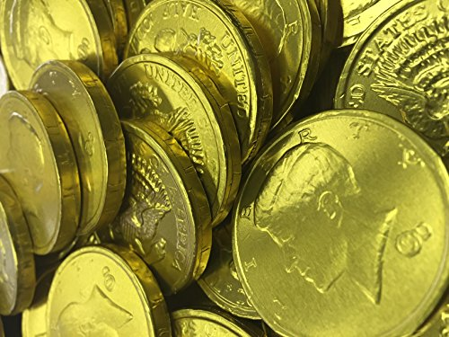 Solid Milk Chocolate Large Kennedy Gold Coins - 1 Full Pound Bulk Wholesale (Half Dollar Gold Coins)