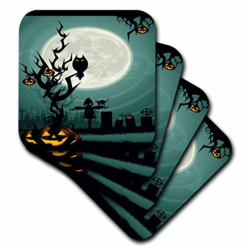 3dRose cst_153147_2 A Scary Halloween Scene with a Pumpkin, Haunted Tree Under a Big White Moon-Soft Coasters, Set of 8 ()
