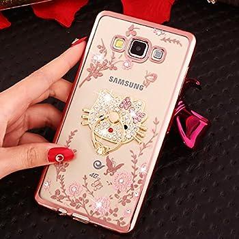 for Samsung Galaxy, Pink Hello Kitty Diamante Flowers Luxury Fancy Bling Crystal Rhinestone Diamond Case