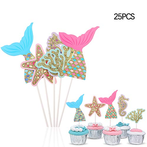 Efivs Arts 25 Pcs Mermaid Tail Starfish ocean seahorse Cake Cupcake Toppers picks for Baby Shower Kids Birthday Party Themed Party Decorations