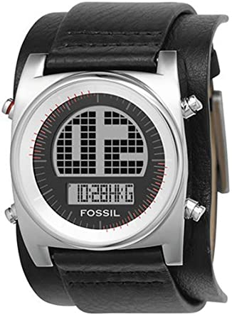 Fossil BG2109 - Reloj digital de cuarzo para hombre con correa de piel, color negro: Amazon.es: Relojes