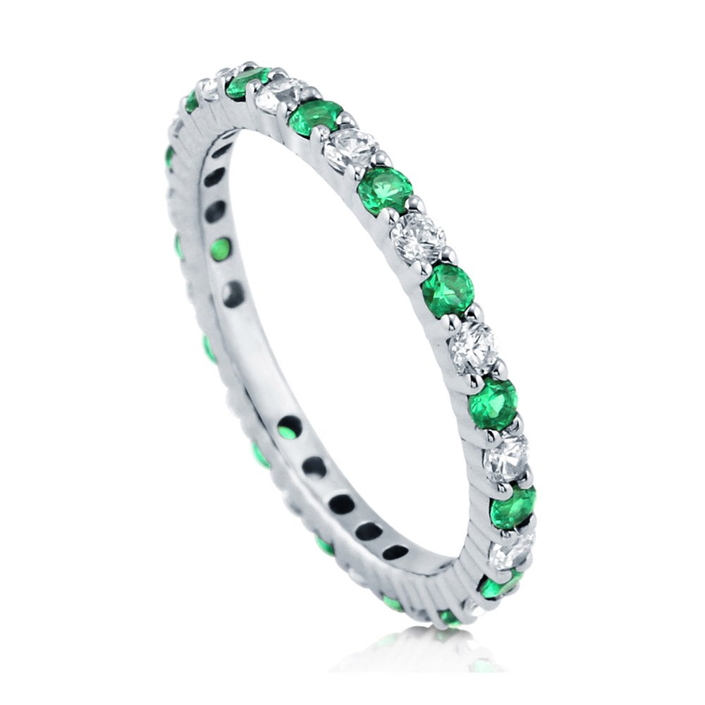 BERRICLE Rhodium Plated Sterling Silver Simulated Emerald Cubic Zirconia CZ Stackable Anniversary Fashion Right Hand Eternity Band Ring Size 8
