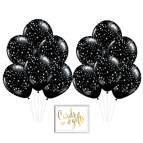 (Andaz Press Bulk High Quality Latex Balloon Party Kit with Gold Cards & Gifts Sign, Twinkle Twinkle Little Star Black and White Space Galaxy Printed 11-inch Balloons, Wholesale)