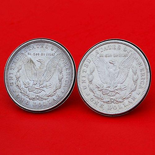 US 1921 Morgan Silver Dollar Silver Cufflinks NEW - REVERSE + REVERSE by jt6740