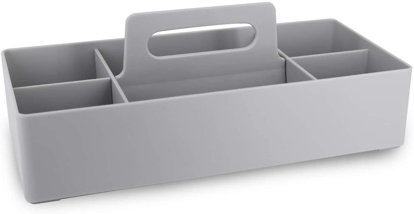Qulable Plastic Portable Makeup Organizer Caddy Tote Divided Basket Bin with Handle,DIY Dividers,6 Compartments,Office Supplies Organizer, Portable Basket Storage Organizer Modern(Light Gray)