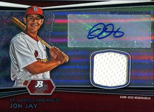 Jon Jay Signed Jersey - 2012 Bowman Platinum Card - Autographed Baseball Cards