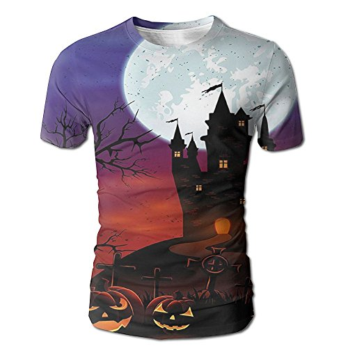 Kooiico Men's Halloween Gothic Haunted House Castle On Top Of Hill Valley Night Sky October Festival Theme Cool T-shirts White S