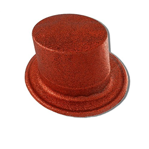 Fancy Costume Red Glitter Unisex Top Hat (Top Plastic Hat)
