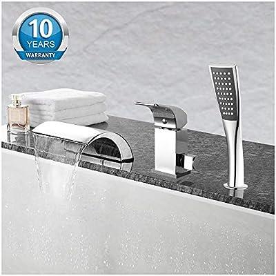 Aposhion Waterfall Bathtub Hand Shower Single Handle 3 Holes Contemporary Chrome Finish Bathroom Tub Sink Faucet, L4.53W7.09H2.36 inch,
