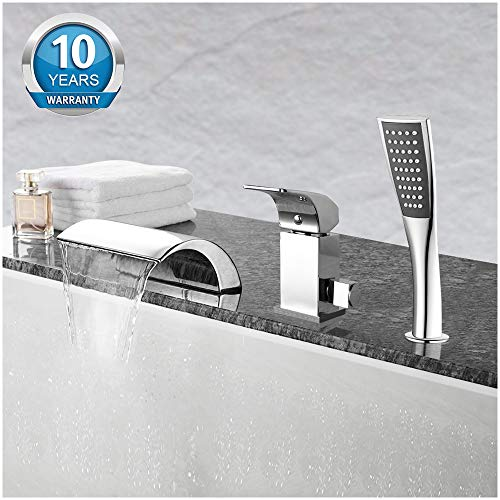Aposhion Waterfall Bathtub Hand Shower Single Handle 3 Holes Contemporary Chrome Finish Bathroom Tub Sink Faucet, L4.53W7.09H2.36 inch,