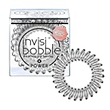 invisibobble Power Traceless Hair Ring (Crystal Clear) - Hair Coils, Coil Hair Ties- 3pcs
