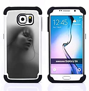 GIFT CHOICE / Defensor Cubierta de protección completa Flexible TPU Silicona + Duro PC Estuche protector Cáscara Funda Caso / Combo Case for Samsung Galaxy S6 SM-G920 // Girl Woman Deep Beautiful Black White //