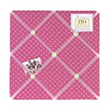 Sweet Jojo Designs Pink and Green Jungle Friends Polka Dot Fabric Memory/Memo Photo Bulletin Board
