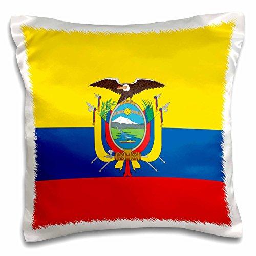 3D Rose Flag of Ecuador-South America American-Ecuadorian Yellow Blue Red-Condor Bird Coat of Arms Design Pillowcase 16