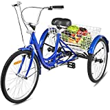 Happybuy Adult Tricycle 7 Speed Single Three Wheel Bike Cruise Bike 24inch Seat