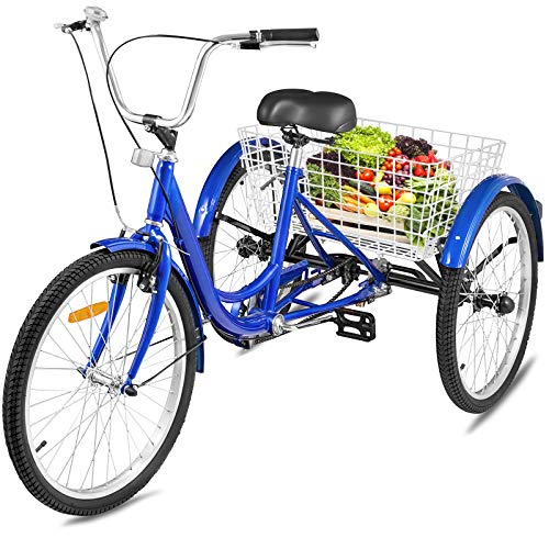Happybuy Adult Tricycle 7 Speed Cruise Bike 20 inch Adjustable Trike with Bell Brake System Size Basket for Recreation Shopping Exercise (Blue 20 7Speed)