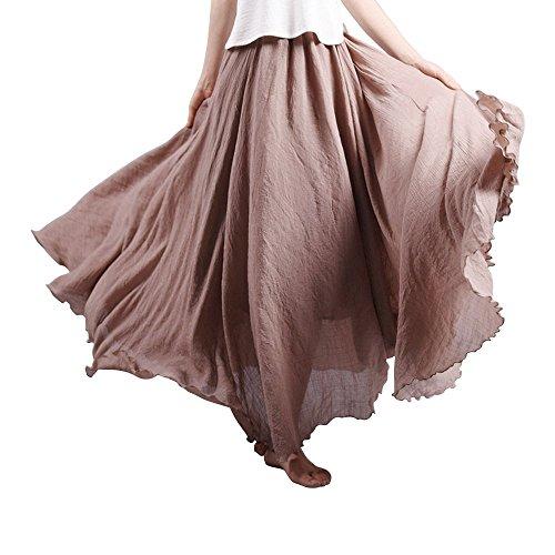 OCHENTA Femme Jupe Boheme Tour de Taille Elastique Casual en Coton Dress Mariage Plage Beige