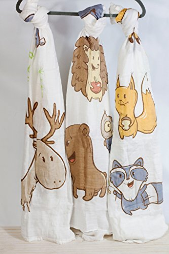 Forest Friends 100% Bamboo Swaddle Blanket 47