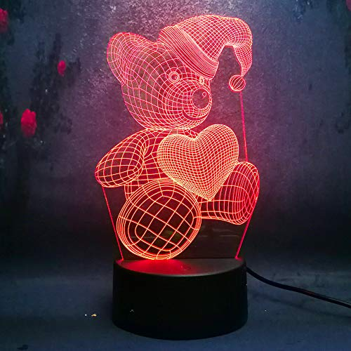 Price comparison product image Amroe Cute 3D Night Light Baby Teddy Bear Hold Love Heart Balloon 7 Color Change Table Lamp 3D LED Night Light Decor Holiday Gift for Kids