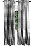 AK-Trading – Set of 2 Pcs. – Buffalo Check Plaid Gingham Window Curtain Treatments 100% Polyester Checker Plaid Window Curtain Panel – Made in USA – 54 inches x 120 inches – Black