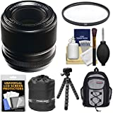 Fujifilm 60mm f/2.4 XF R Macro Lens with Backpack + Pouch + Tripod + Filter + Kit for X-A2, X-E2, X-E2s, X-M1, X-T1, X-T10, X-Pro2 Cameras