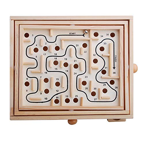 MyLifeUNIT Wood Labyrinth Game, Tilting Balance Maze Game Pavilion