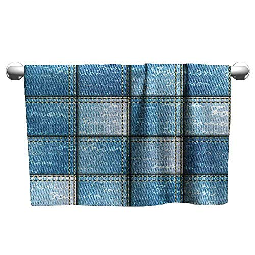 Mannwarehouse Farmhouse Decor Beach and Pool House Towel Double Exposure Jean Pattern on Denim Color Backdrop with Regular Lettering Image W19 x L19 Blue