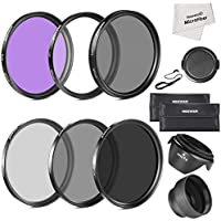 Neewer 67MM Must Have Lens Filter Accessory Kit for CANON Rebel T5i T4i T3i T3 T2i, EOS 700D 650D 600D 550D 70D 60D 7D 6D DSLR Cameras with 18-135MM EF-S IS STM Zoom Lens - Includes: 67MM Filter Kit (UV, CPL, FLD) + ND Neutral Density Filter Set (ND2, ND4, ND8) + Carrying Pouch + Collapsible Lens Hood + Tulip Lens Hood + Snap-On Front Lens Cap + Cap Keeper Leash + Microfiber Cleaning Cloth