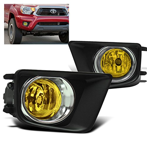 ZMAUTOPARTS Bumper Driving Yellow Fog Lights Lamps with Chrome Trim Bezels For 2012-2015 Toyota Tacoma Pickup