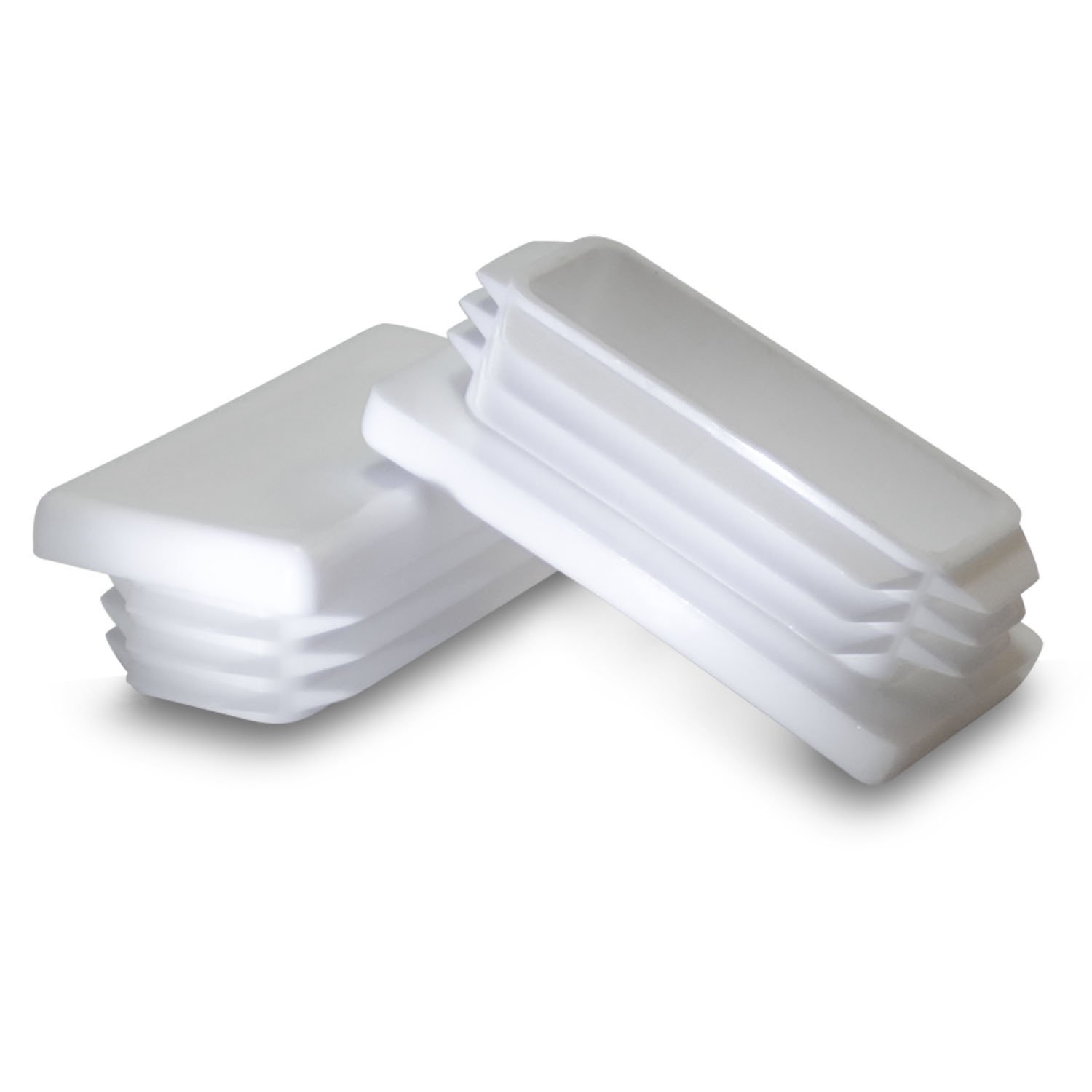 10 Pack: 1 x 2 Inch Rectangle White Plastic Plug End Cap Generic