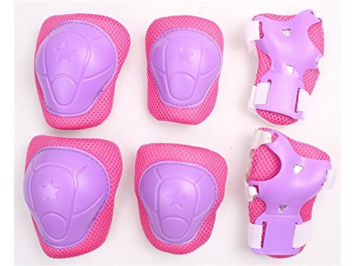 Wetietir Skating 6 Pcs/Set Kid's Protective Gear Set with Elbow Knee Handguard for Roller Skating Skateboard BMX Scooter Cycling (Purple Pink L) for Protection by Wetietir