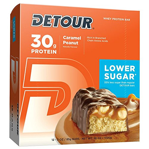 Detour Lower Sugar Whey Protein Bar, Caramel Peanut, 3 Ounce (Pack of 12) (Best 30 Gram Protein Bars)